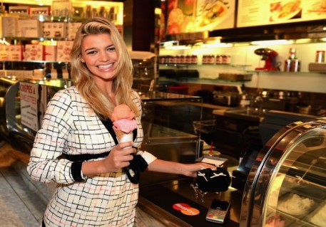 MasterCard partners with designer Adam Selman to design the next generation of payment wearables. The payment-enabled dress and accessories are modeled by Kelly Rohrbach, on October 25, 2015 in Las Vegas, Nevada. *** Local Caption *** Kelly Rohrbach